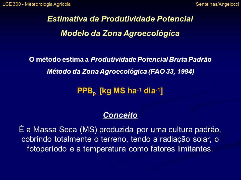 Grupo 3 – Plantas C4 Se T 16,5 o C cTn = -1,064 + 0,173 T – 0,0029 T 2 cTc = -4,16 + 0,4325 T – 0,00725 T 2 Se T < 16,5 o C cTn = -4,16 + 0,4325 T – 0,00725 T 2 cTc = -9,32 + 0,865 T – 0,0145 T 2 Milho SorgoCana-de-açúcar LCE 360 - Meteorologia Agrícola Sentelhas/Angelocci
