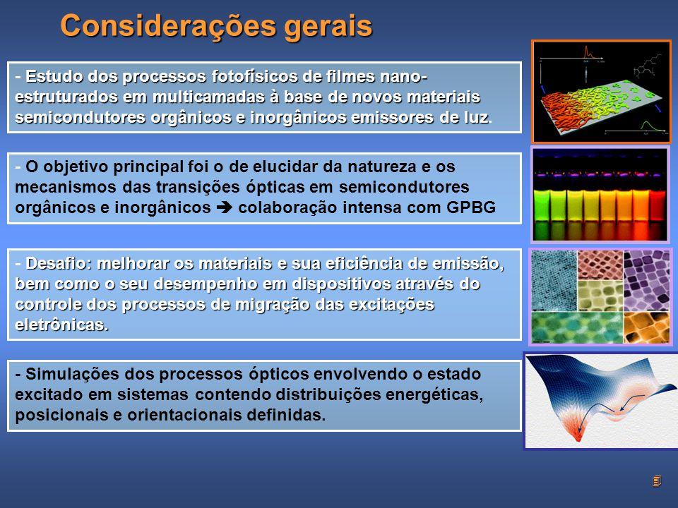 4 Considerações gerais Estudo dos processos fotofísicos de filmes nano- estruturados em multicamadas à base de novos materiais semicondutores orgânicos e inorgânicos emissores de luz - Estudo dos processos fotofísicos de filmes nano- estruturados em multicamadas à base de novos materiais semicondutores orgânicos e inorgânicos emissores de luz.