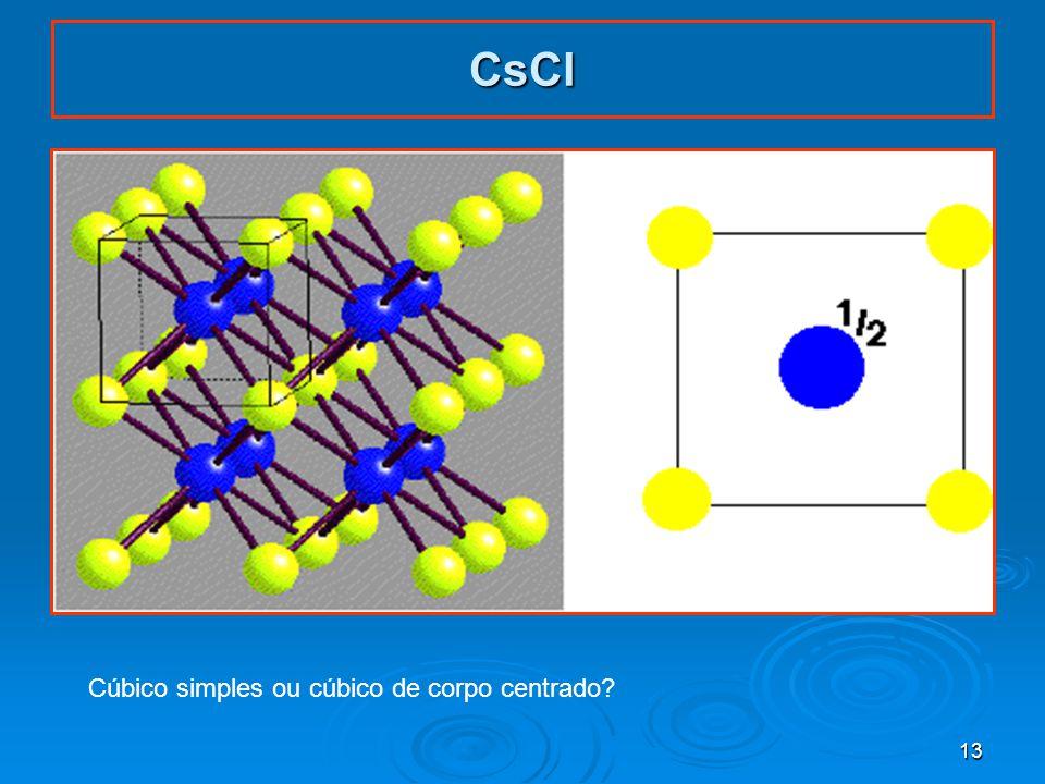 13 CsCl Cúbico simples ou cúbico de corpo centrado?