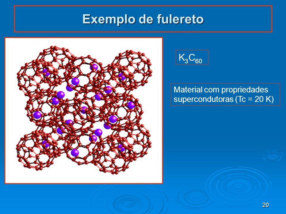 20 Exemplo de fulereto K 3 C 60 Material com propriedades supercondutoras (Tc = 20 K)