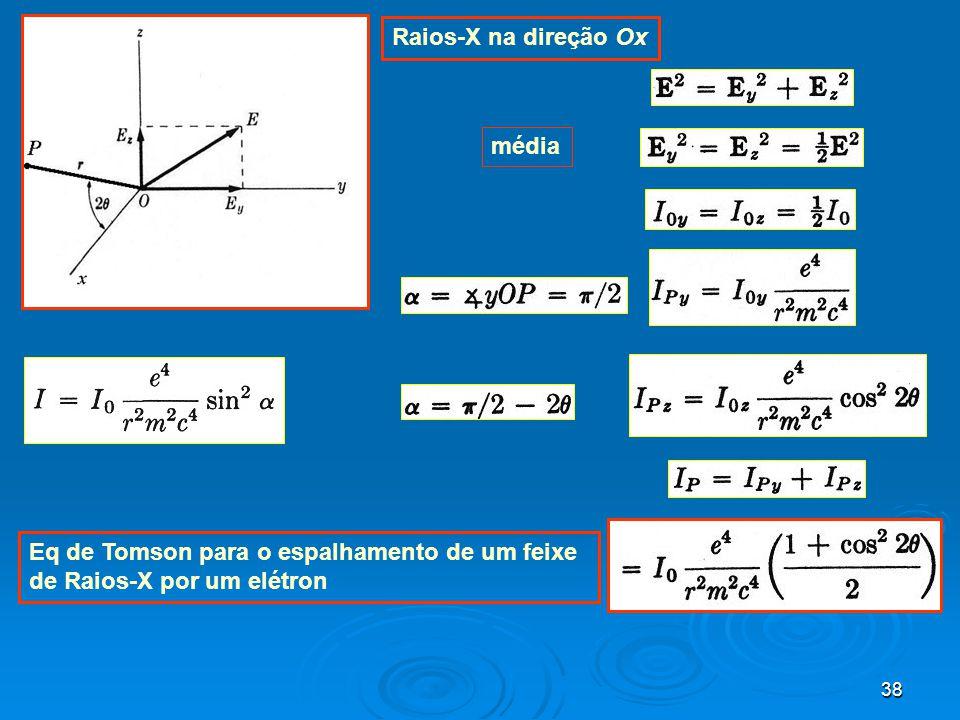 38 média Raios-X na direção Ox Eq de Tomson para o espalhamento de um feixe de Raios-X por um elétron