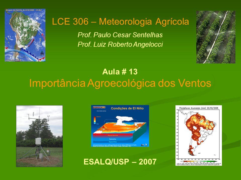 Importância Agroecológica dos Ventos LCE 306 – Meteorologia Agrícola Prof. Paulo Cesar Sentelhas Prof. Luiz Roberto Angelocci ESALQ/USP – 2007 Aula #