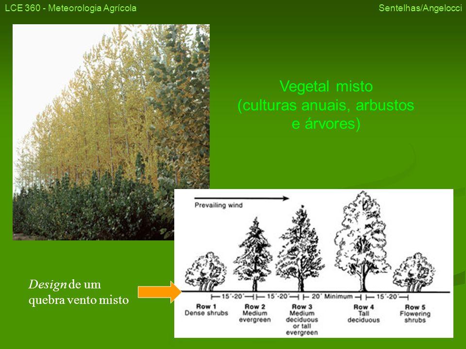 Vegetal misto (culturas anuais, arbustos e árvores) LCE 360 - Meteorologia Agrícola Sentelhas/Angelocci Design de um quebra vento misto