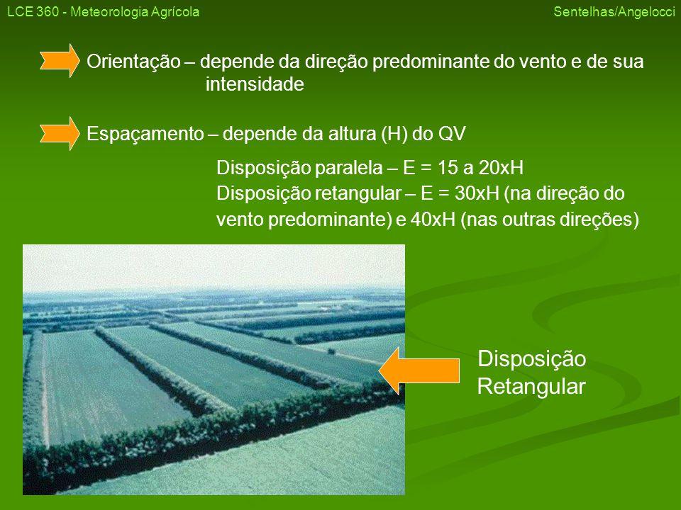 Orientação – depende da direção predominante do vento e de sua intensidade Espaçamento – depende da altura (H) do QV Disposição paralela – E = 15 a 20