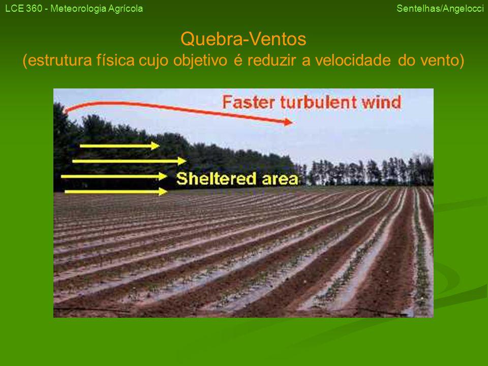 Quebra-Ventos Tipos Vegetal permanente (árvores) LCE 360 - Meteorologia Agrícola Sentelhas/Angelocci Vista frontal Vista lateral
