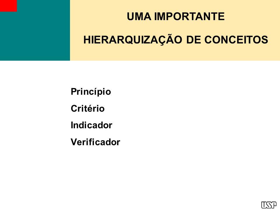 Hierarquização dos conceitos A proposta de agrupamento hierarquizado dos conceitos princípio, critério e indicador permite uma formulação consistente e coerente de grupos de P, C & I.