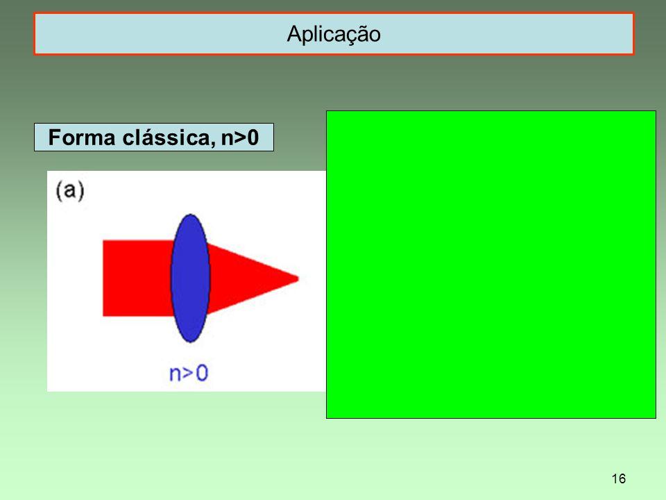 16 Aplicação Forma clássica, n>0 Forma não-convencional, n<0