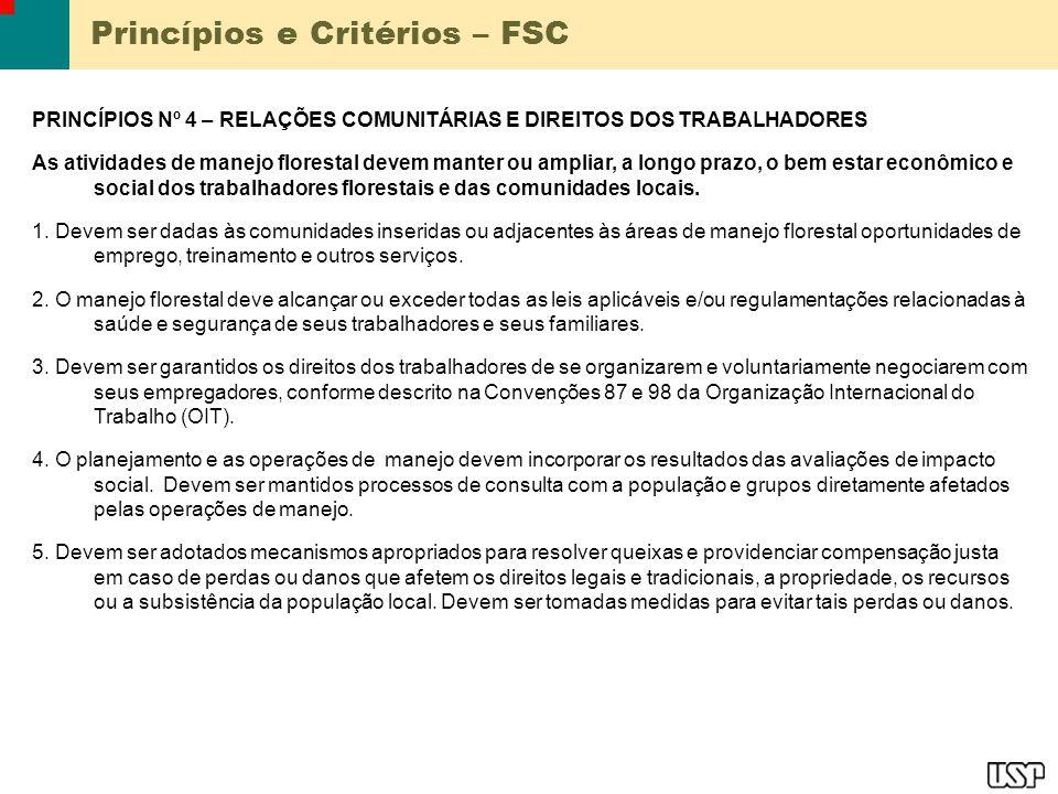 Princípios e Critérios – FSC PRINCÍPIOS Nº 4 – RELAÇÕES COMUNITÁRIAS E DIREITOS DOS TRABALHADORES As atividades de manejo florestal devem manter ou am