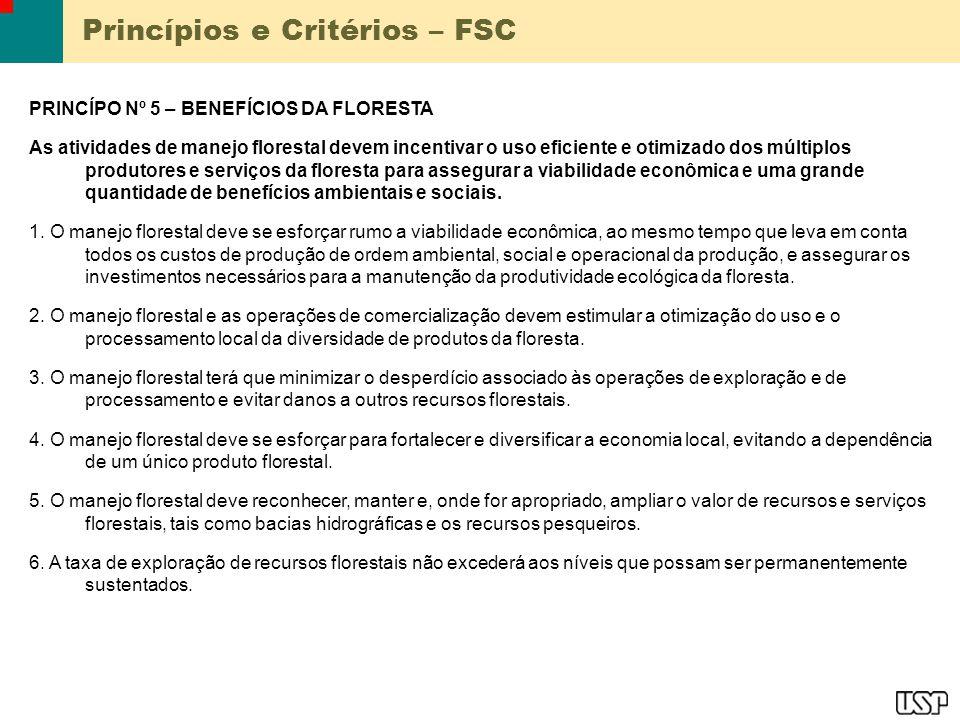 Princípios e Critérios – FSC PRINCÍPO Nº 5 – BENEFÍCIOS DA FLORESTA As atividades de manejo florestal devem incentivar o uso eficiente e otimizado dos