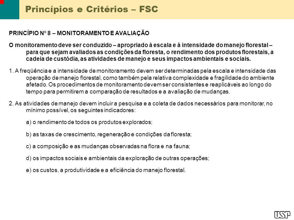 Princípios e Critérios – FSC PRINCÍPIO Nº 8 – MONITORAMENTO E AVALIAÇÃO O monitoramento deve ser conduzido – apropriado à escala e à intensidade do ma