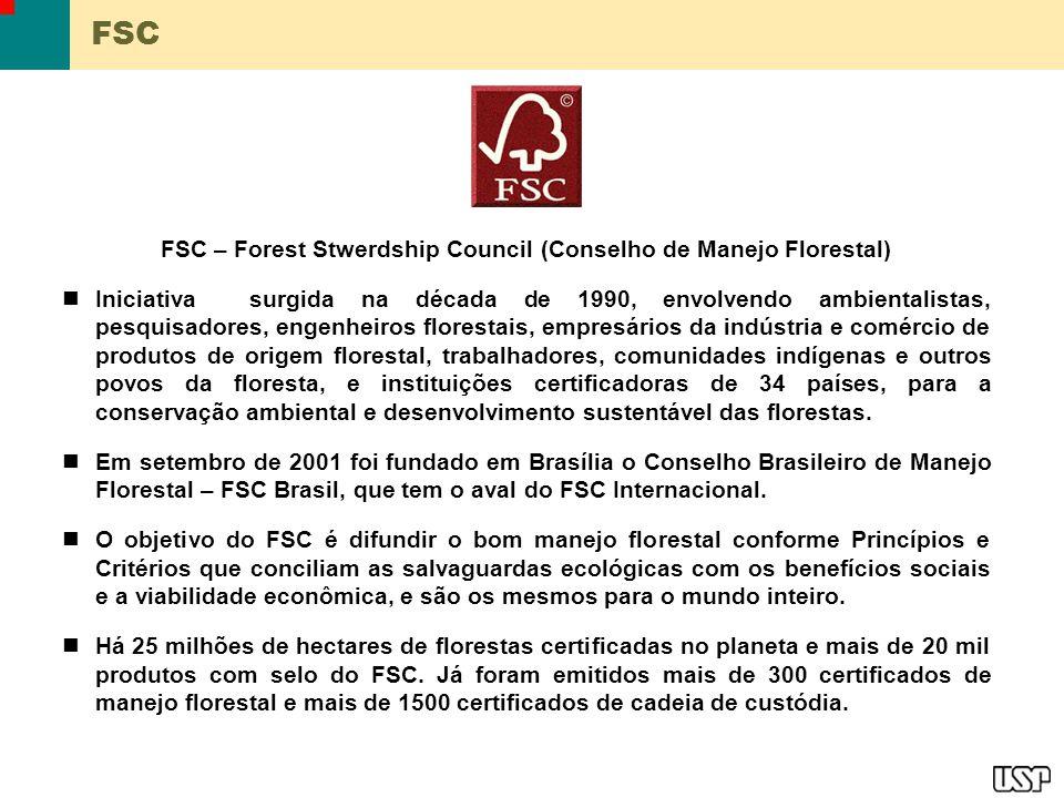 FSC FSC – Forest Stwerdship Council (Conselho de Manejo Florestal) Iniciativa surgida na década de 1990, envolvendo ambientalistas, pesquisadores, eng