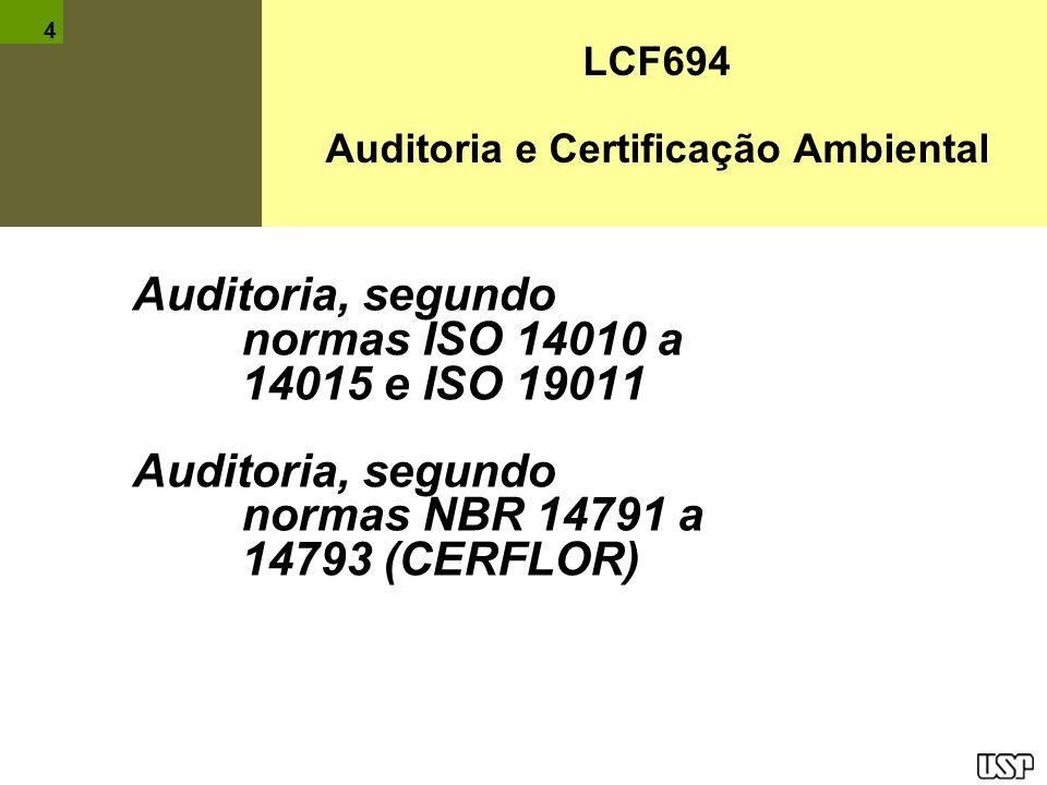 LCF694 Auditoria e Certificação Ambiental Auditoria, segundo normas ISO 14010 a 14015 e ISO 19011 Auditoria, segundo normas NBR 14791 a 14793 (CERFLOR