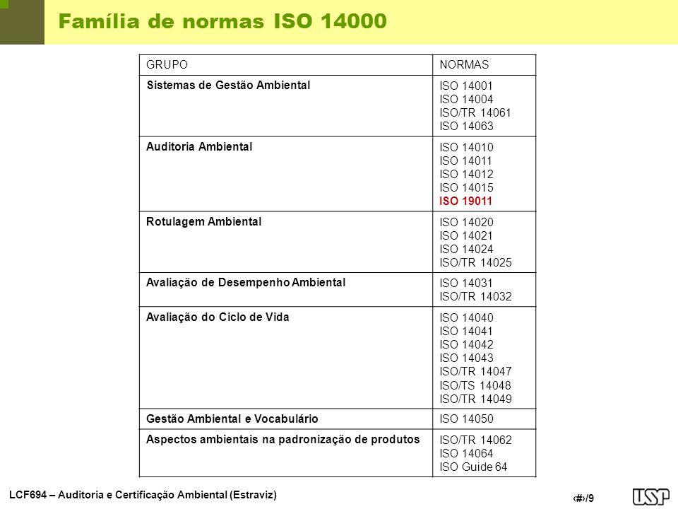 LCF694 – Auditoria e Certificação Ambiental (Estraviz) 2/9 Família de normas ISO 14000 GRUPONORMAS Sistemas de Gestão AmbientalISO 14001 ISO 14004 ISO