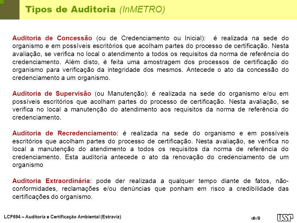 LCF694 – Auditoria e Certificação Ambiental (Estraviz) 4/9 Tipos de Auditoria (InMETRO) Auditoria de Concessão (ou de Credenciamento ou Inicial): é re
