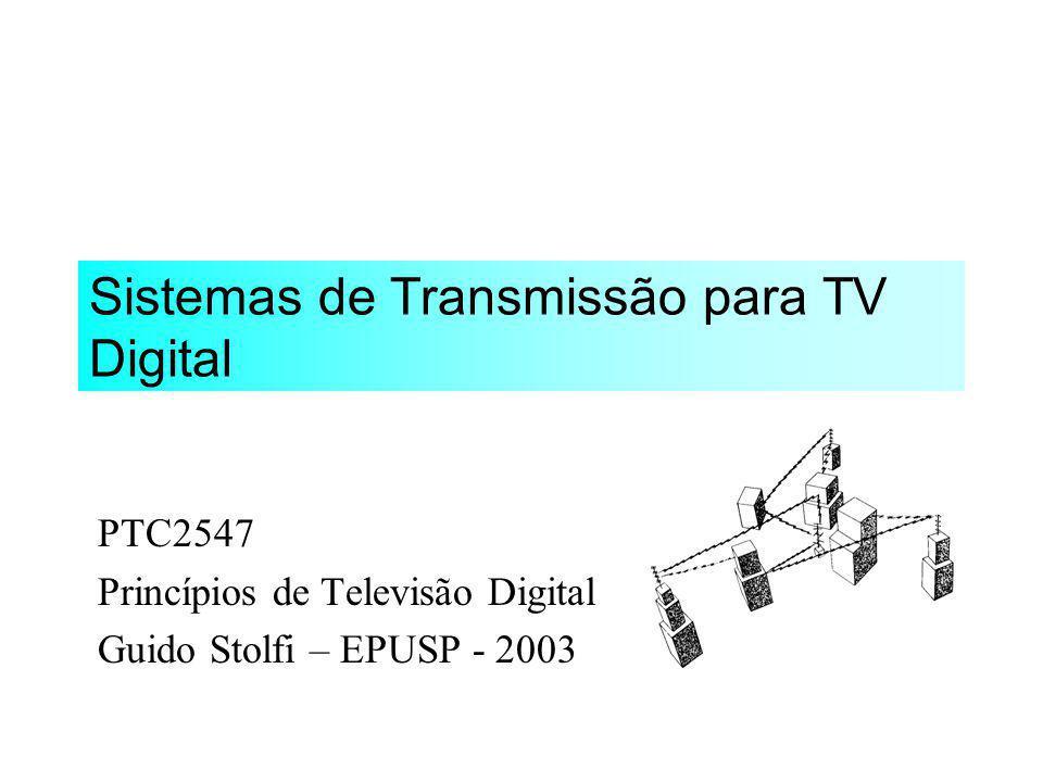 Sistemas de Transmissão para TV Digital Benefícios da Transmissão Digital Sistema ATSC Sistema OFDM / DVB-T Sistema ISDB-T Desempenho em Multi-percurso
