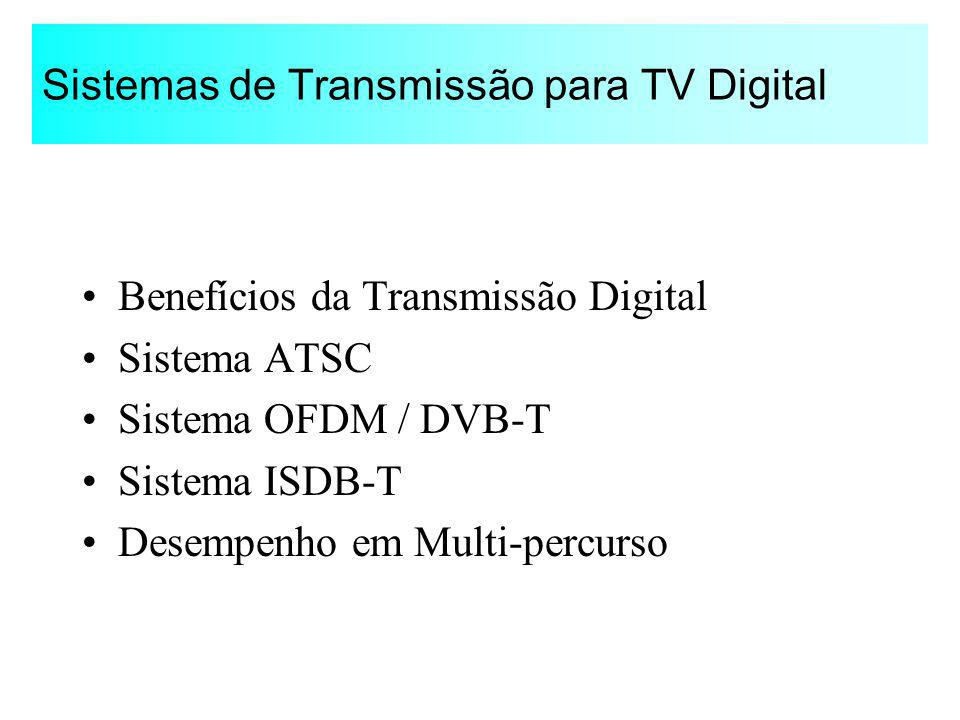 Sistemas de Transmissão para TV Digital Benefícios da Transmissão Digital Sistema ATSC Sistema OFDM / DVB-T Sistema ISDB-T Desempenho em Multi-percurs