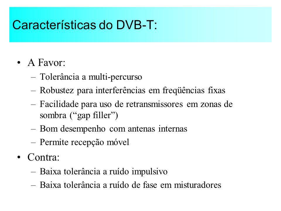 Características do DVB-T: A Favor: –Tolerância a multi-percurso –Robustez para interferências em freqüências fixas –Facilidade para uso de retransmiss