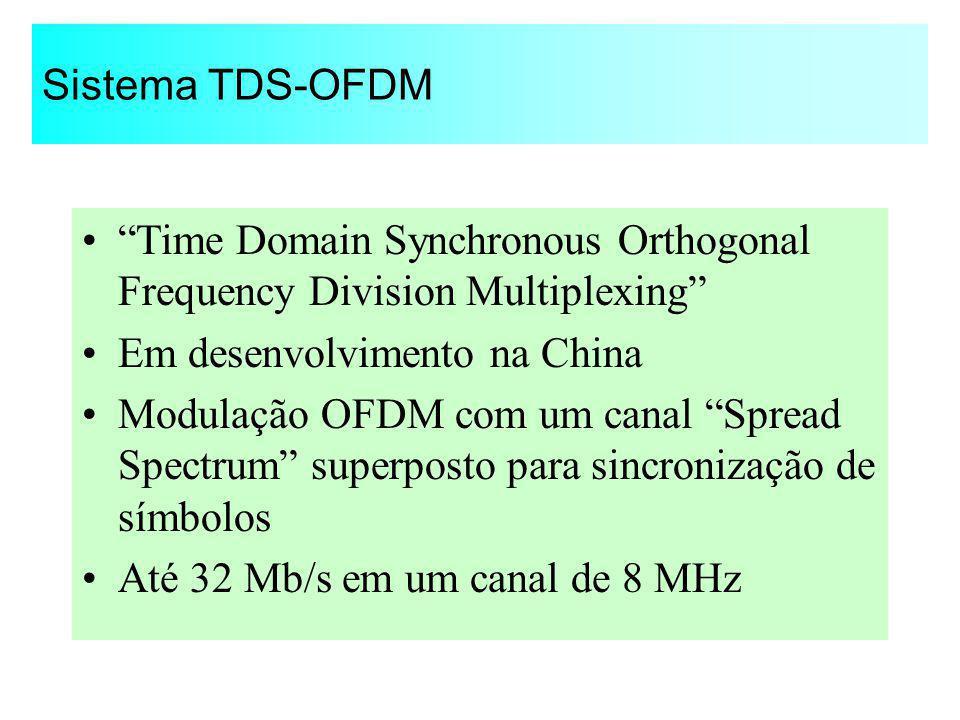 Sistema TDS-OFDM Time Domain Synchronous Orthogonal Frequency Division Multiplexing Em desenvolvimento na China Modulação OFDM com um canal Spread Spe