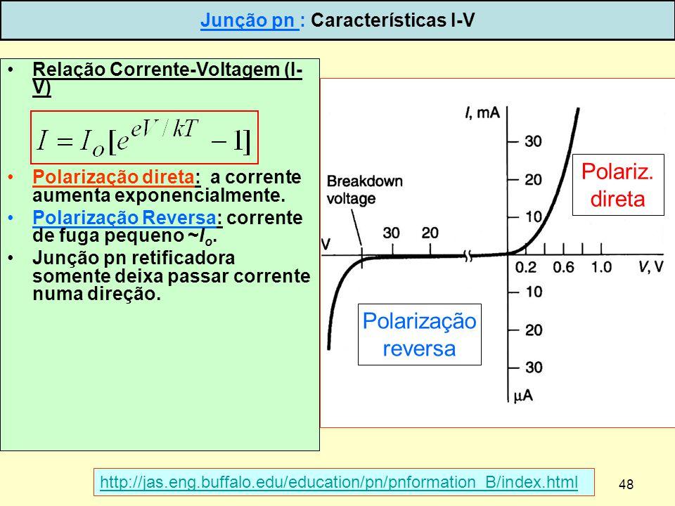 48 Relação Corrente-Voltagem (I- V) Polarização direta: a corrente aumenta exponencialmente. Polarização Reversa: corrente de fuga pequeno ~I o. Junçã