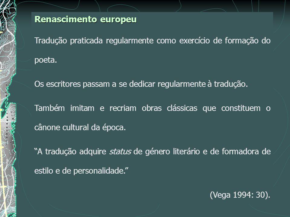 Renascimento europeu Tradução praticada regularmente como exercício de formação do poeta.