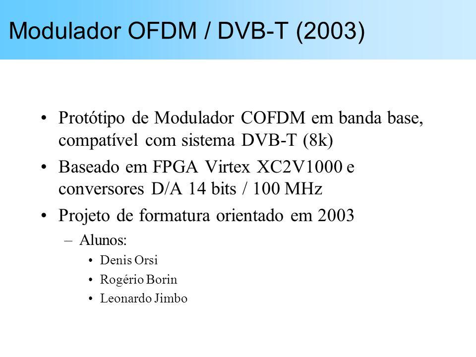 Protótipo de Modulador COFDM em banda base, compatível com sistema DVB-T (8k) Baseado em FPGA Virtex XC2V1000 e conversores D/A 14 bits / 100 MHz Projeto de formatura orientado em 2003 –Alunos: Denis Orsi Rogério Borin Leonardo Jimbo