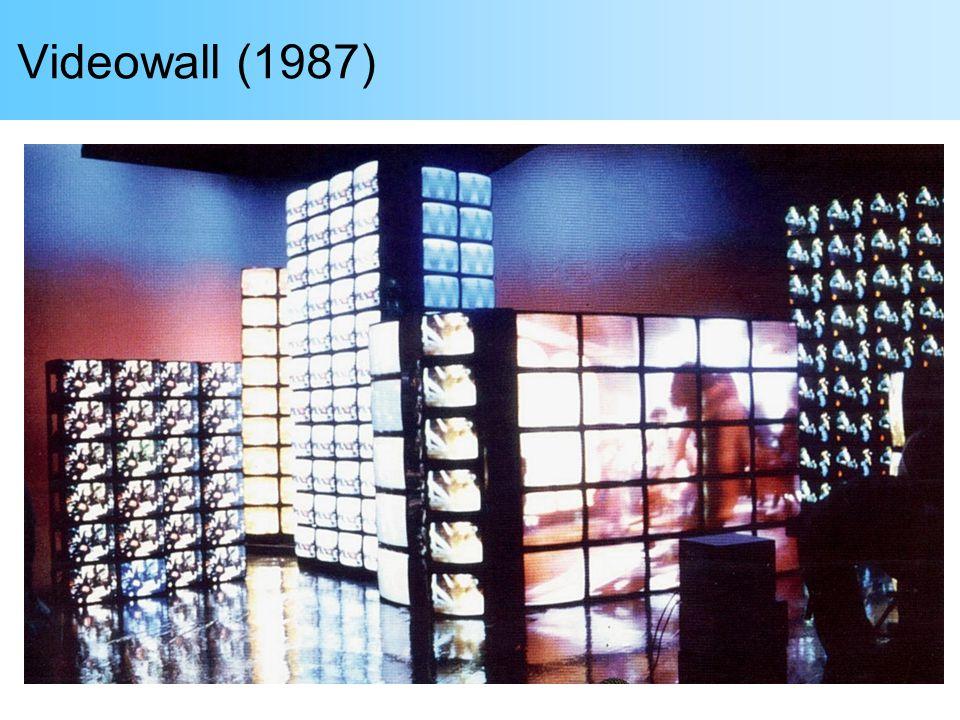 Videowall Cliente: Art Sistemas / Playmarket Estréia: Abril/1987, estande da Phillips na UD Tecnologia: Processamento digital RGB; A/D e D/A 8 bits, 10 MHz; bancos de SRAM; controle com PALs e PROMs Expansão: 1, 3, 6, 9