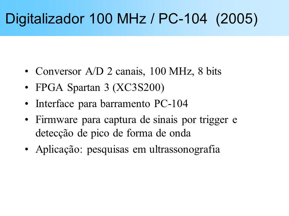 Conversor A/D 2 canais, 100 MHz, 8 bits FPGA Spartan 3 (XC3S200) Interface para barramento PC-104 Firmware para captura de sinais por trigger e detecç