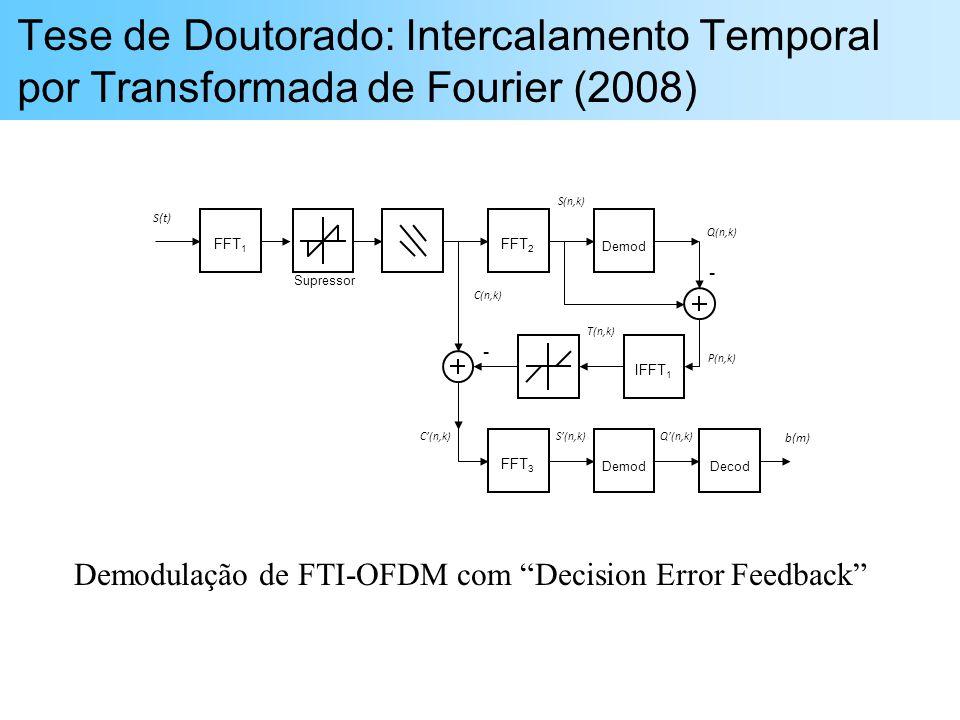Tese de Doutorado: Intercalamento Temporal por Transformada de Fourier (2008) FFT 1 FFT 2 Demod IFFT 1 FFT 3 DemodDecod - - S(t) b(m) S(n,k)C(n,k)Q(n,k) C(n,k) P(n,k) S(n,k) Q(n,k) T(n,k) Supressor Demodulação de FTI-OFDM com Decision Error Feedback