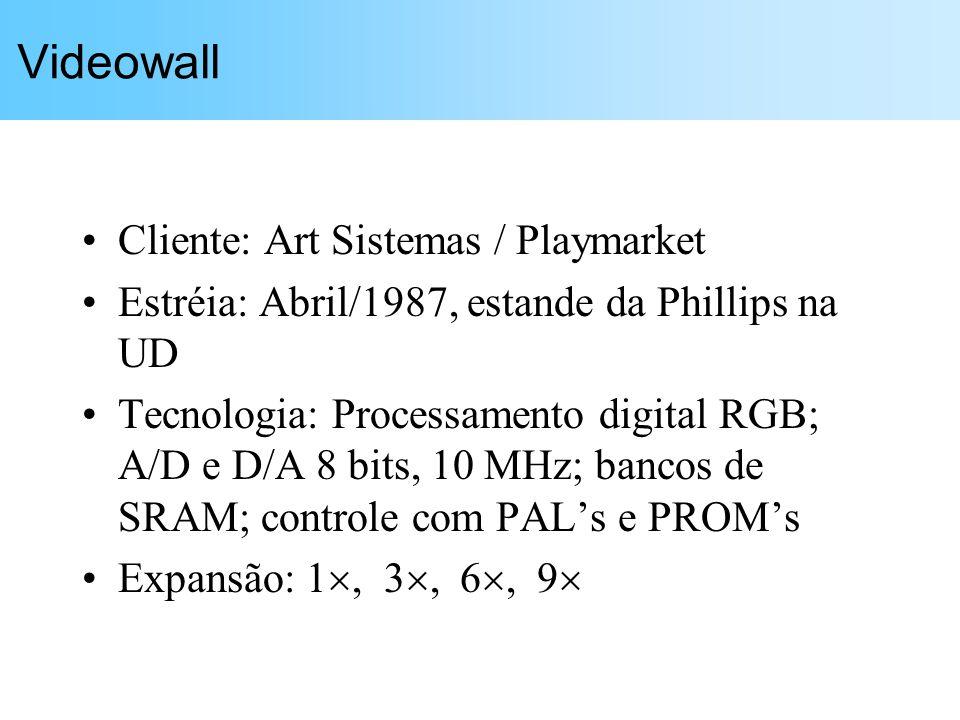 Videowall Cliente: Art Sistemas / Playmarket Estréia: Abril/1987, estande da Phillips na UD Tecnologia: Processamento digital RGB; A/D e D/A 8 bits, 1
