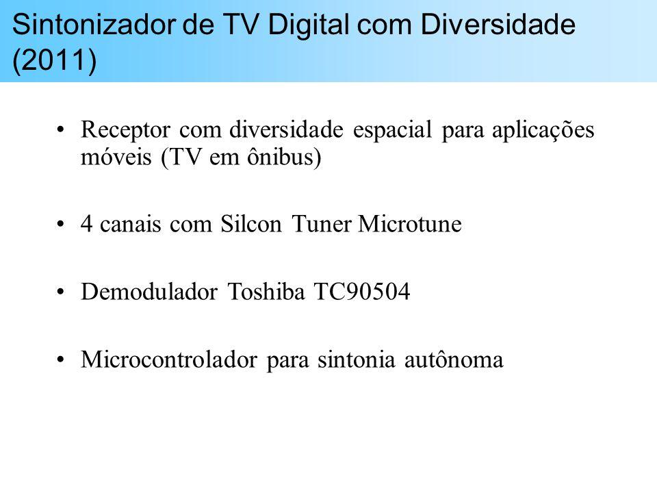 Receptor com diversidade espacial para aplicações móveis (TV em ônibus) 4 canais com Silcon Tuner Microtune Demodulador Toshiba TC90504 Microcontrolad