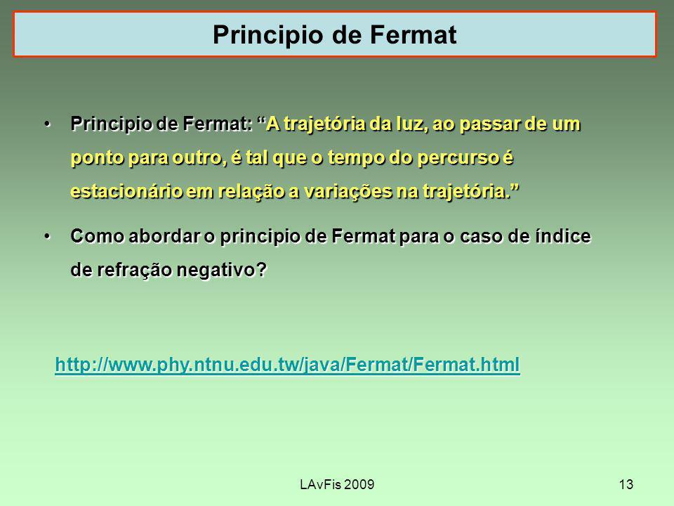 LAvFis 200913 Principio de Fermat http://www.phy.ntnu.edu.tw/java/Fermat/Fermat.html Principio de Fermat: A trajetória da luz, ao passar de um ponto para outro, é tal que o tempo do percurso é estacionário em relação a variações na trajetória.Principio de Fermat: A trajetória da luz, ao passar de um ponto para outro, é tal que o tempo do percurso é estacionário em relação a variações na trajetória.