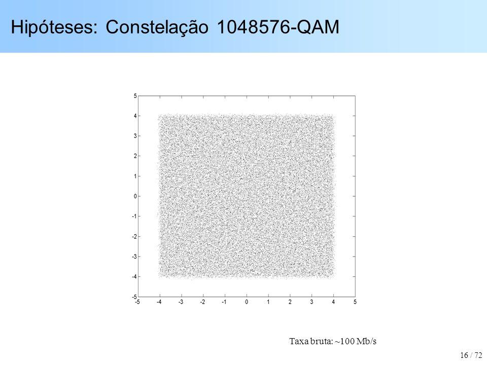 Hipóteses: Constelação 1048576-QAM Taxa bruta: ~100 Mb/s 16 / 72
