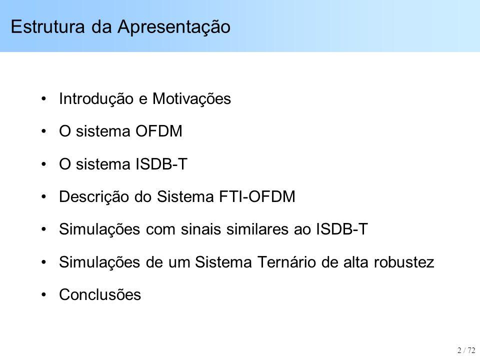 Introdução: SBTVD (Sistema Brasileiro de TV Digital) Projeto FINEP 01.05.0125.00 (Mackenzie / LCS): –Desenvolvimento de Protótipo de Modulador OFDM padrão ISDB-T –Protótipos de Sintonizadores e Demoduladores –Testes de Desempenho –Aperfeiçoamentos sobre o padrão ISDB-T 3 / 72