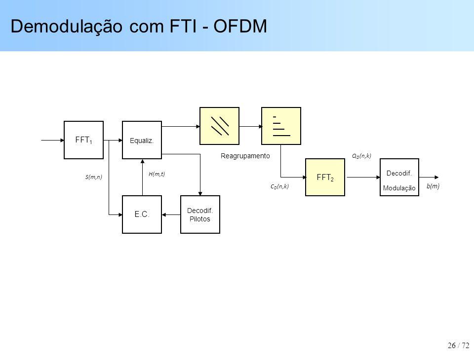 Demodulação com FTI - OFDM Equaliz. E.C. FFT 1 Decodif. Modulação b(m) S(m,n) H(m,t) Decodif. Pilotos Reagrupamento Q D (n,k) FFT 2 C D (n,k) 26 / 72