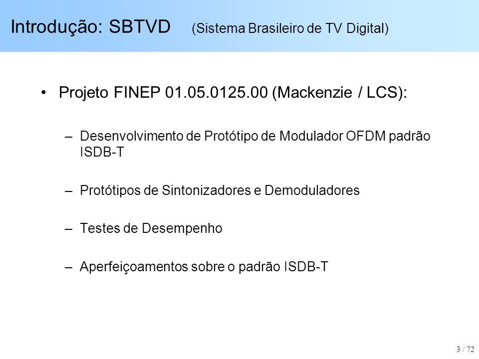 Introdução: SBTVD (Sistema Brasileiro de TV Digital) Projeto FINEP 01.05.0125.00 (Mackenzie / LCS): –Desenvolvimento de Protótipo de Modulador OFDM pa