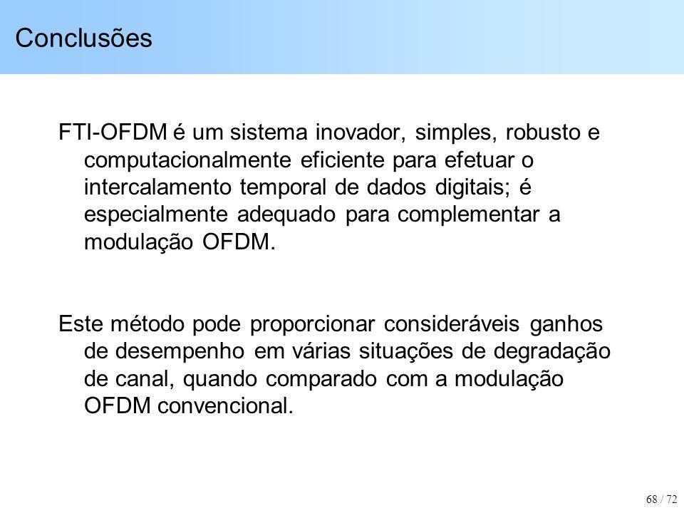 Conclusões FTI-OFDM é um sistema inovador, simples, robusto e computacionalmente eficiente para efetuar o intercalamento temporal de dados digitais; é