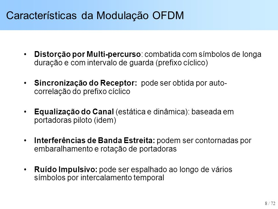 Características da Modulação OFDM Distorção por Multi-percurso: combatida com símbolos de longa duração e com intervalo de guarda (prefixo cíclico) Si