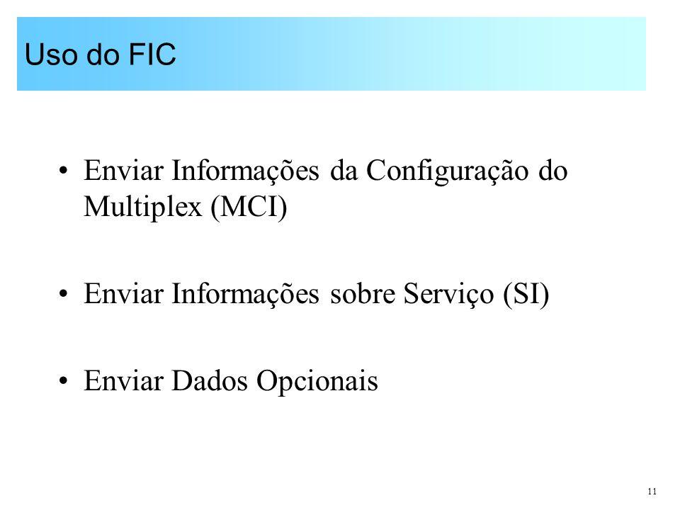 11 Uso do FIC Enviar Informações da Configuração do Multiplex (MCI) Enviar Informações sobre Serviço (SI) Enviar Dados Opcionais