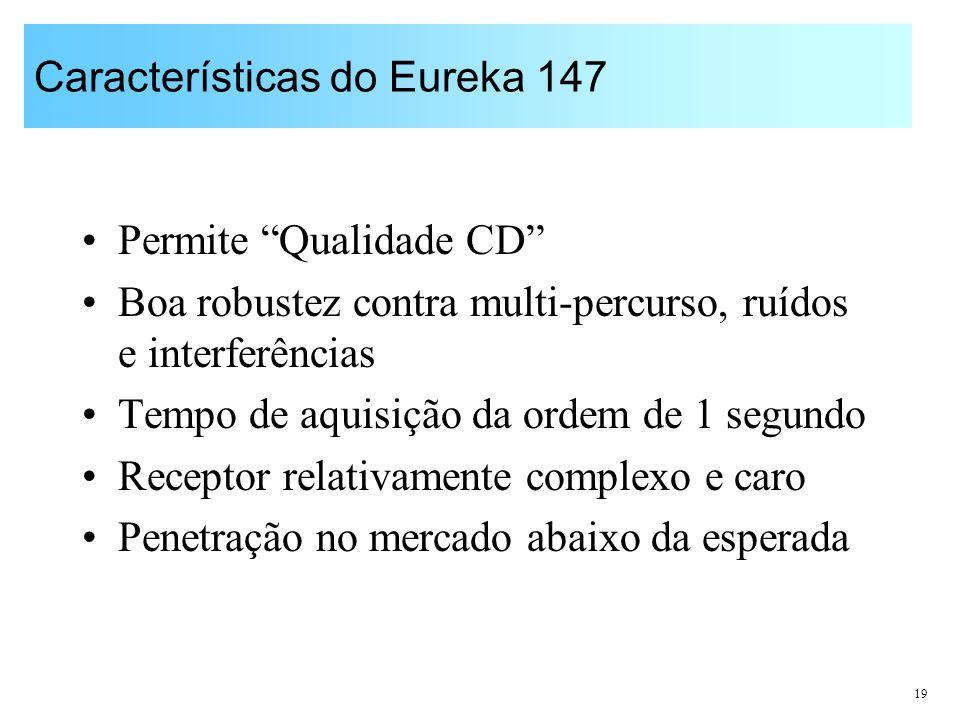 19 Características do Eureka 147 Permite Qualidade CD Boa robustez contra multi-percurso, ruídos e interferências Tempo de aquisição da ordem de 1 seg