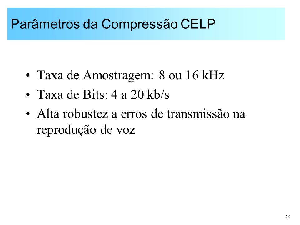 26 Parâmetros da Compressão CELP Taxa de Amostragem: 8 ou 16 kHz Taxa de Bits: 4 a 20 kb/s Alta robustez a erros de transmissão na reprodução de voz