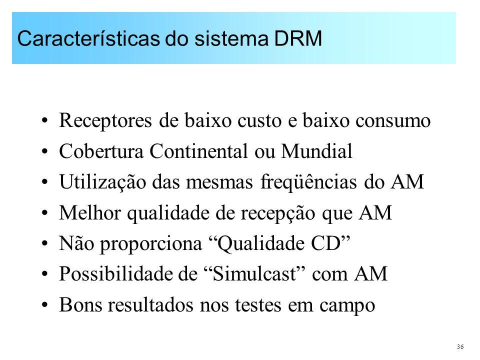 36 Características do sistema DRM Receptores de baixo custo e baixo consumo Cobertura Continental ou Mundial Utilização das mesmas freqüências do AM M
