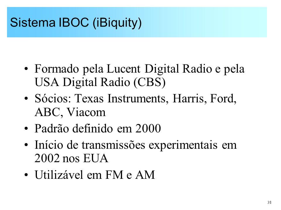 38 Sistema IBOC (iBiquity) Formado pela Lucent Digital Radio e pela USA Digital Radio (CBS) Sócios: Texas Instruments, Harris, Ford, ABC, Viacom Padrã