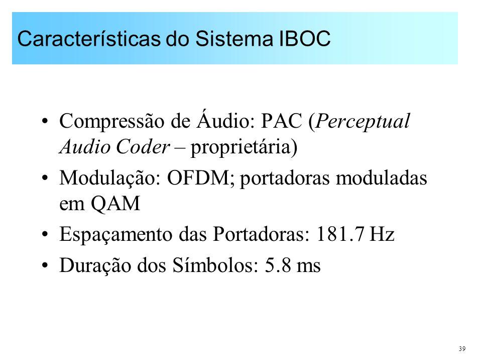 39 Características do Sistema IBOC Compressão de Áudio: PAC (Perceptual Audio Coder – proprietária) Modulação: OFDM; portadoras moduladas em QAM Espaç
