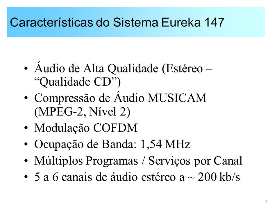 4 Características do Sistema Eureka 147 Áudio de Alta Qualidade (Estéreo – Qualidade CD) Compressão de Áudio MUSICAM (MPEG-2, Nível 2) Modulação COFDM