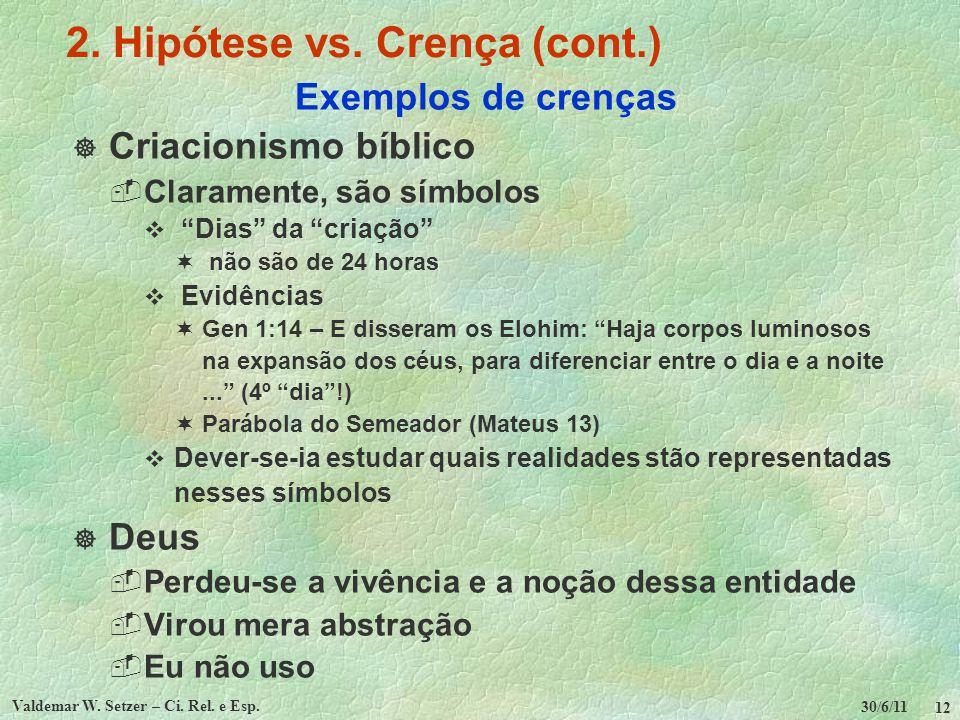 30/6/11 Valdemar W. Setzer – Ci. Rel. e Esp. 12 2. Hipótese vs. Crença (cont.) Exemplos de crenças Criacionismo bíblico Claramente, são símbolos Dias