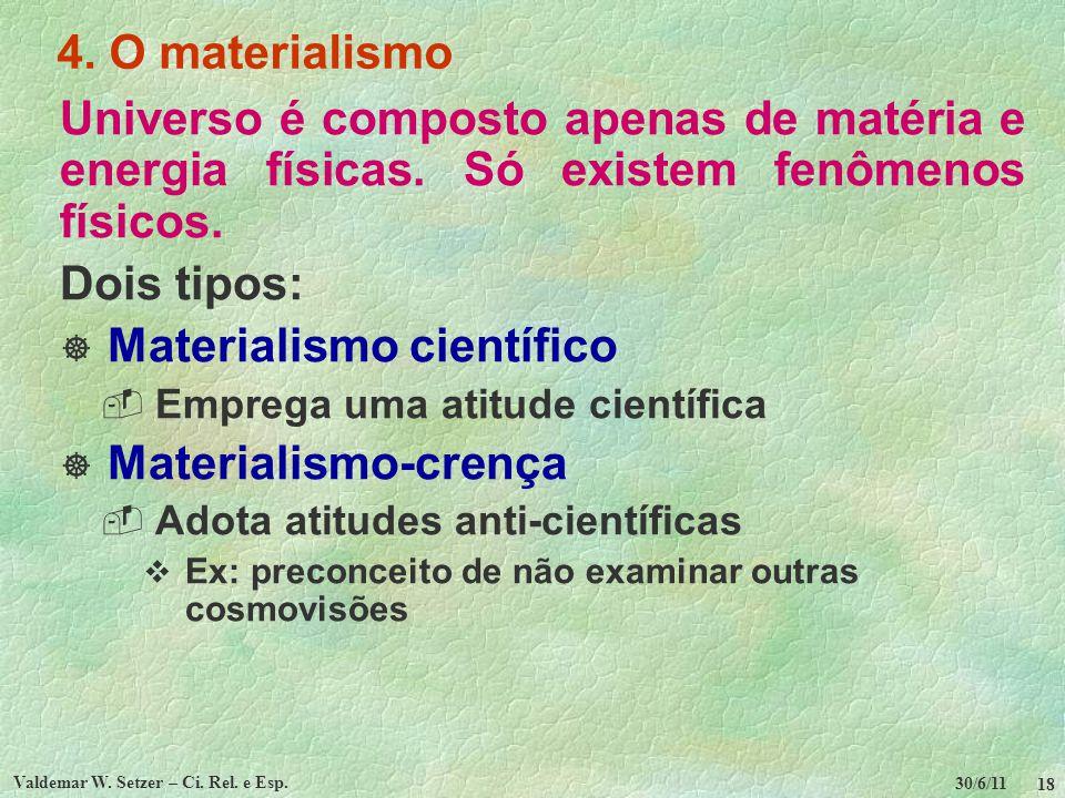 30/6/11 Valdemar W. Setzer – Ci. Rel. e Esp. 18 4. O materialismo Universo é composto apenas de matéria e energia físicas. Só existem fenômenos físico