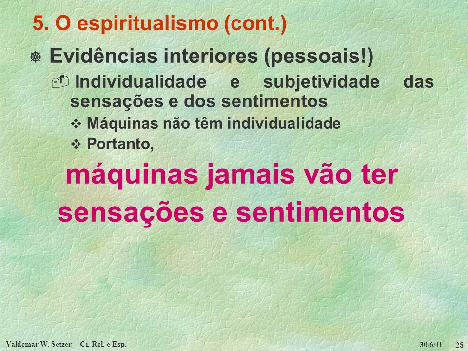 30/6/11 Valdemar W. Setzer – Ci. Rel. e Esp. 28 5. O espiritualismo (cont.) Evidências interiores (pessoais!) Individualidade e subjetividade das sens
