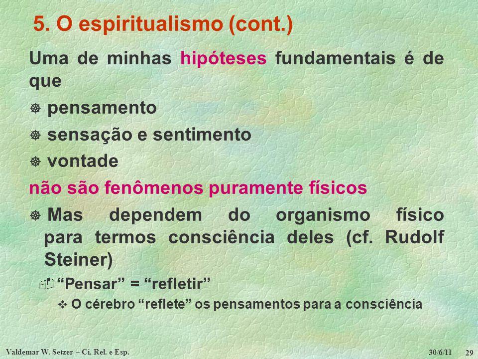 30/6/11 Valdemar W. Setzer – Ci. Rel. e Esp. 29 5. O espiritualismo (cont.) Uma de minhas hipóteses fundamentais é de que pensamento sensação e sentim