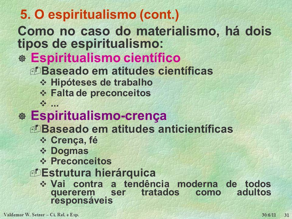 30/6/11 Valdemar W. Setzer – Ci. Rel. e Esp. 31 5. O espiritualismo (cont.) Como no caso do materialismo, há dois tipos de espiritualismo: Espirituali