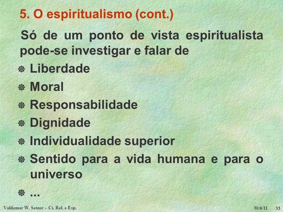 30/6/11 Valdemar W. Setzer – Ci. Rel. e Esp. 33 5. O espiritualismo (cont.) Só de um ponto de vista espiritualista pode-se investigar e falar de Liber